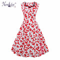 Nemidor 2017 Summer Retro Sleeveless Swing Print Dress Casual Patchwork Party Knee Length Dress