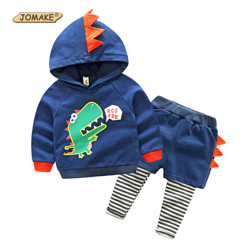 JOMAKE Boys Clothing Sets 2017 New Autumn Brand Baby Boy Clothes Set Cartoon Dinosaur Hooded Sweatshirts+Fake 2Pcs Pants Suit 2pcs set baby clothes set boy