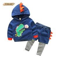 JOMAKE Boys Clothing Sets 2017 New Autumn Brand Baby Boy Clothes Set Cartoon Dinosaur Hooded Sweatshirts