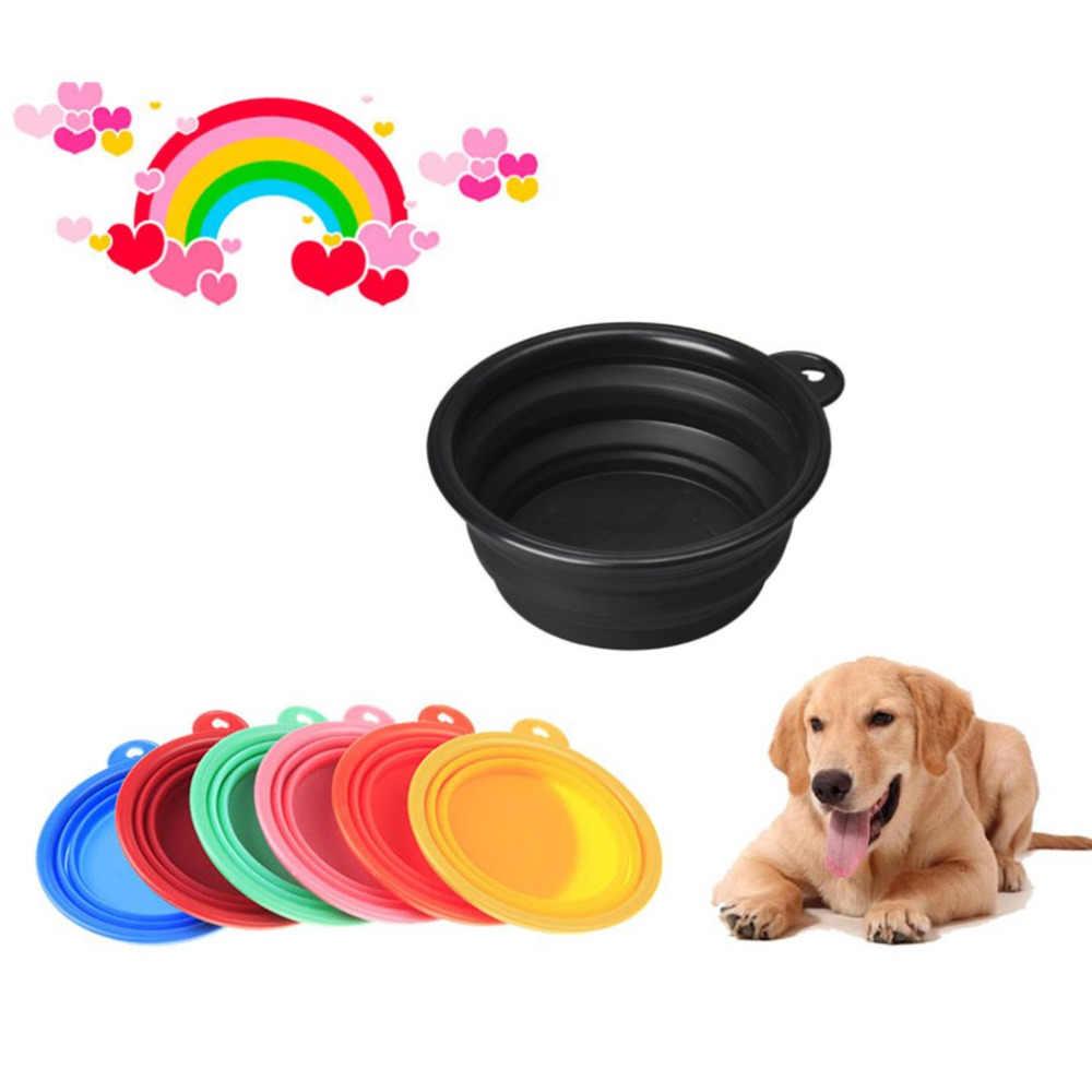 ¡Novedad de 2018! Cuenco plegable para perros de calidad alimentaria, cuenco portátil para alimentación de silicona, cuenco de viaje, plato expandible gratis para Gato agua alimentaria