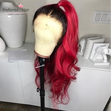 Preferred Ombre Human Hair Wig Preplucked With Baby Hair Brazilian Remy Hair Glueless Red Lace Front Human Hair Wigs For Women