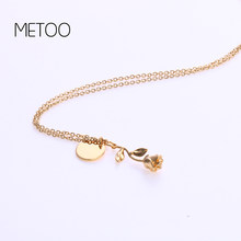 METOO Lovers Necklace Disc Letter Couple Pendant Necklace Rose Gold Flower Choker Statement A- Z Initial Letter Name Necklace(China)