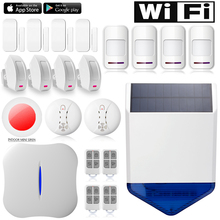 Chuangkesafe Sirena Solar W1 WiFi APP teléfono PSTN Sistema de Alarma Antirrobo de Control remoto para la Seguridad Casera 245 Kits