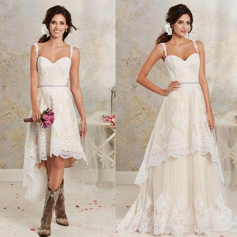 <font><b>2018</b></font> Sexy Two Pieces Wedding Dresses Spaghetti Lace A Line <font><b>Bridal</b></font> <font><b>Gowns</b></font> With Hi-Lo Short Detachable Skirt Country Wedding <font><b>Gowns</b></font> image