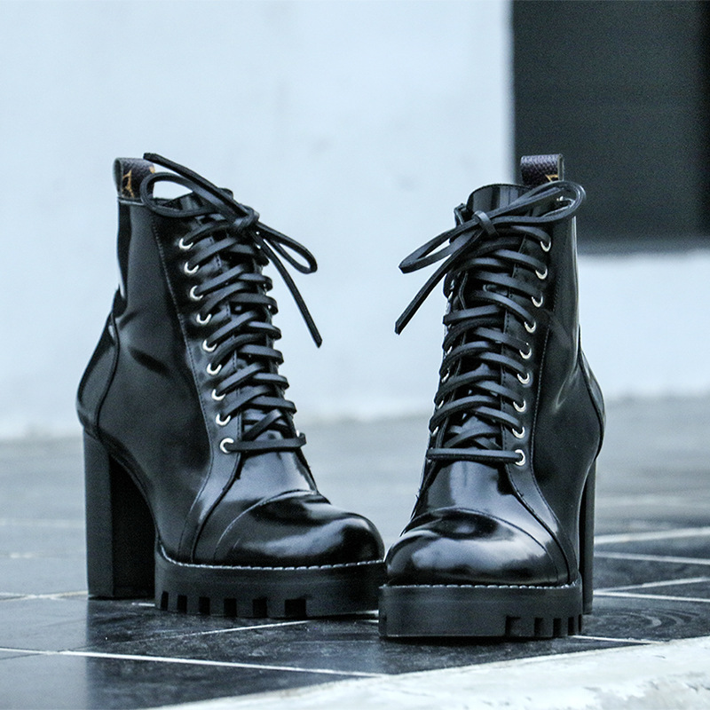 Hot 2018 Spring Autumn Shoes Woman Calf Leather Ankle Boots Lace Up Side Zip Waterproof High Heel Mujer Boots Designer Superstar цена
