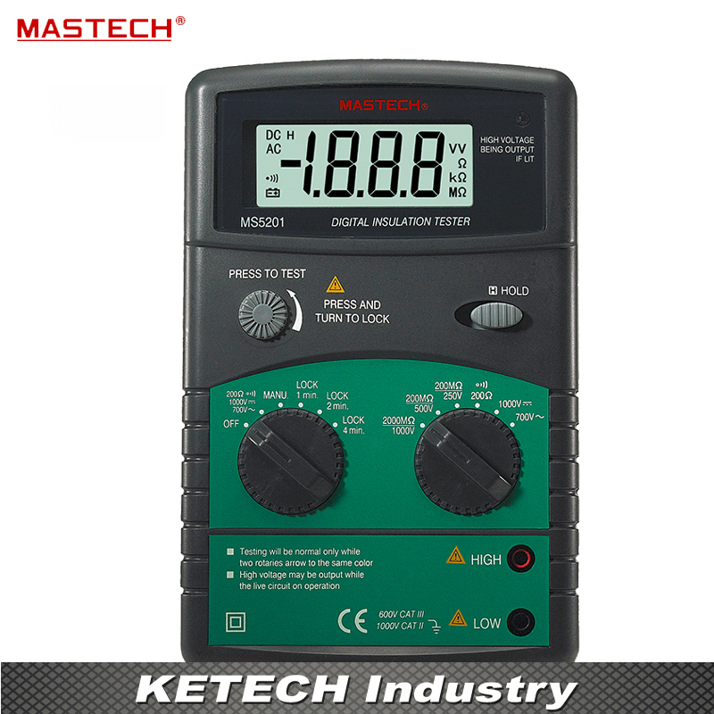 Digital Megger Insulation Resistance Tester MASTECH MS5201 mastech ms5201 digital megger megometro mega ohm insulation resistance tester ac dc voltage detector with alarm