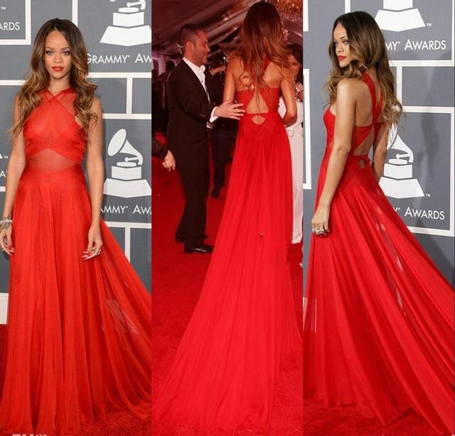 55th Grammy Rihanna Dresses 2016 Red High Neck Open Back Red Carpet Celebrity Dresses Red Sheer Chiffon Evening Dresses 2014