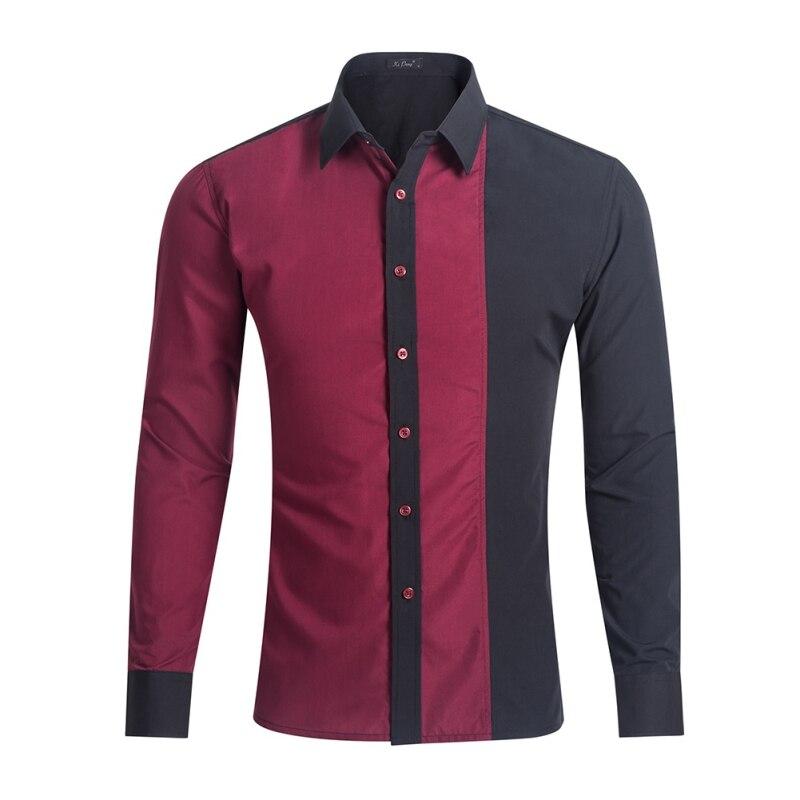 2017 Fashion Brand Men Shirt Black White Dress Shirt Long Sleeve Slim Fit Camisa Masculina Casual Male Hawaiian Shirts New