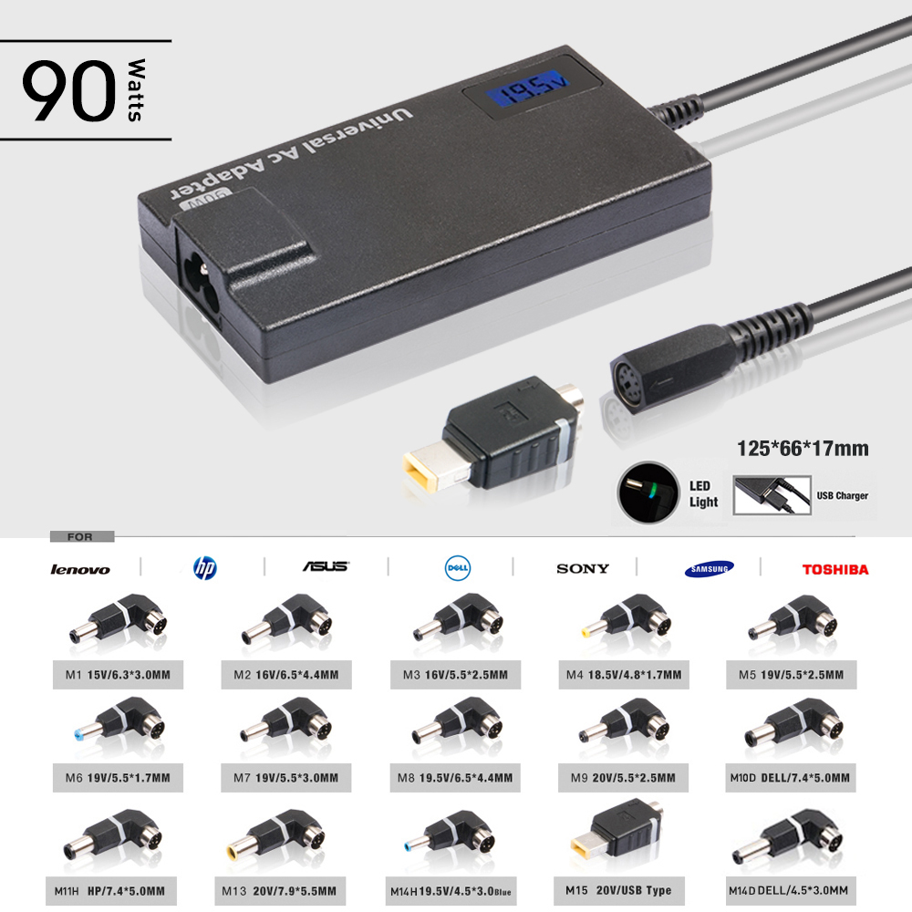 Smart 15V to 20V 14 Tips 90W Automatic Universal Laptop Adapter ...