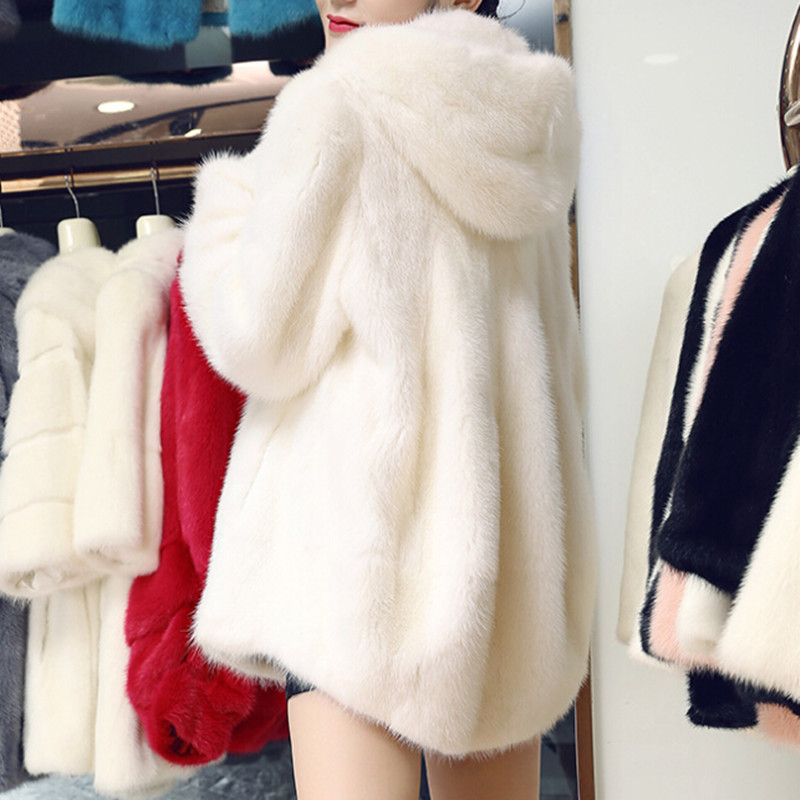 2019 Brand Real Sheared Fur Coats For Women Faux Fur Jacket Fake Mink Coat Hooded Female Clothes Plus Size XXXL Manteau Femme
