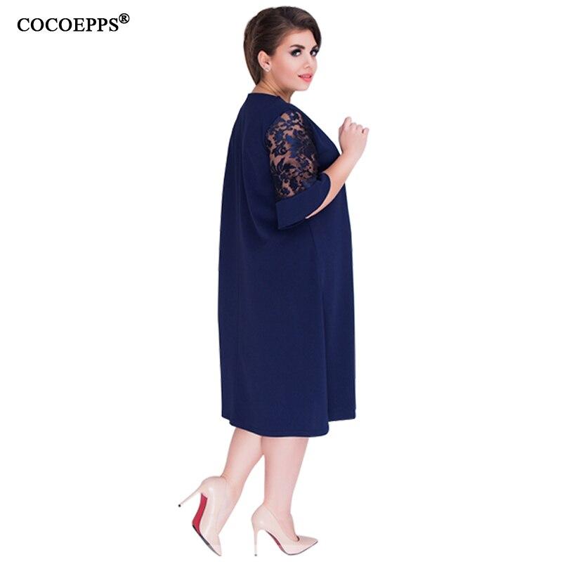 86c6e67ab4c COCOEPPS Loose Lace summer Dresses big size 2019 Plus Size women Knee  Length office dress vintage vestidos L 6XL green dress -in Dresses from  Women s ...