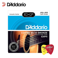 D'Addario EXP11 with NY Steel Acoustic Guitar Strings, 80/20, Coated, Light, 12 53 Daddario Guitar Strings(With 2pcs picks)