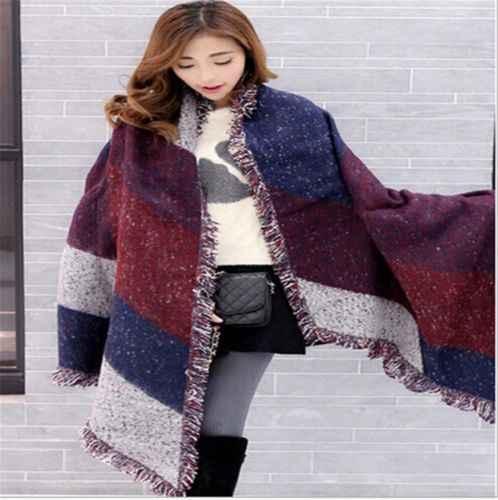 venta caliente online a6f64 4ac87 Bufandas grandes a la moda para mujeres de Cachemira larga mezcla de lana  suave cálida bufanda a cuadros chal bufanda a cuadros