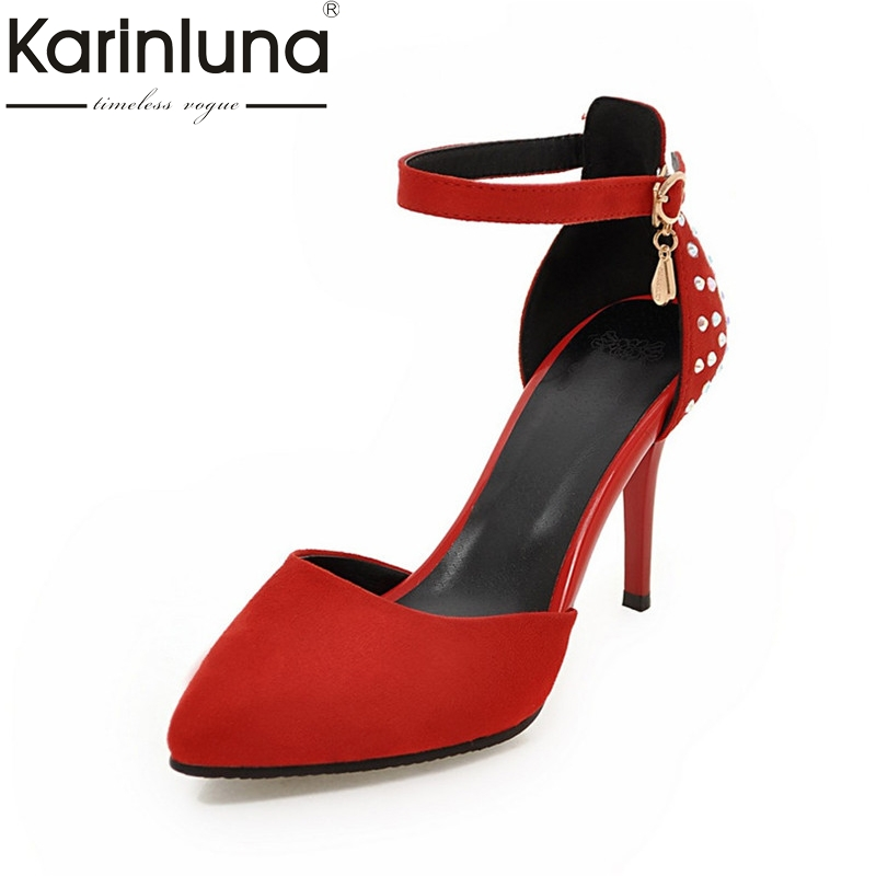Karinluna 2018 Summer Brand Red Sexy Pointed Toe Sandals Super High Thin Heels Shoes Woman Large Size 32-43 Shallow Wedding Shoe bigtree summer fashion women high heels sandals suede shallow mouth pointed pearl ladies sandals sexy wedding red woman shoes