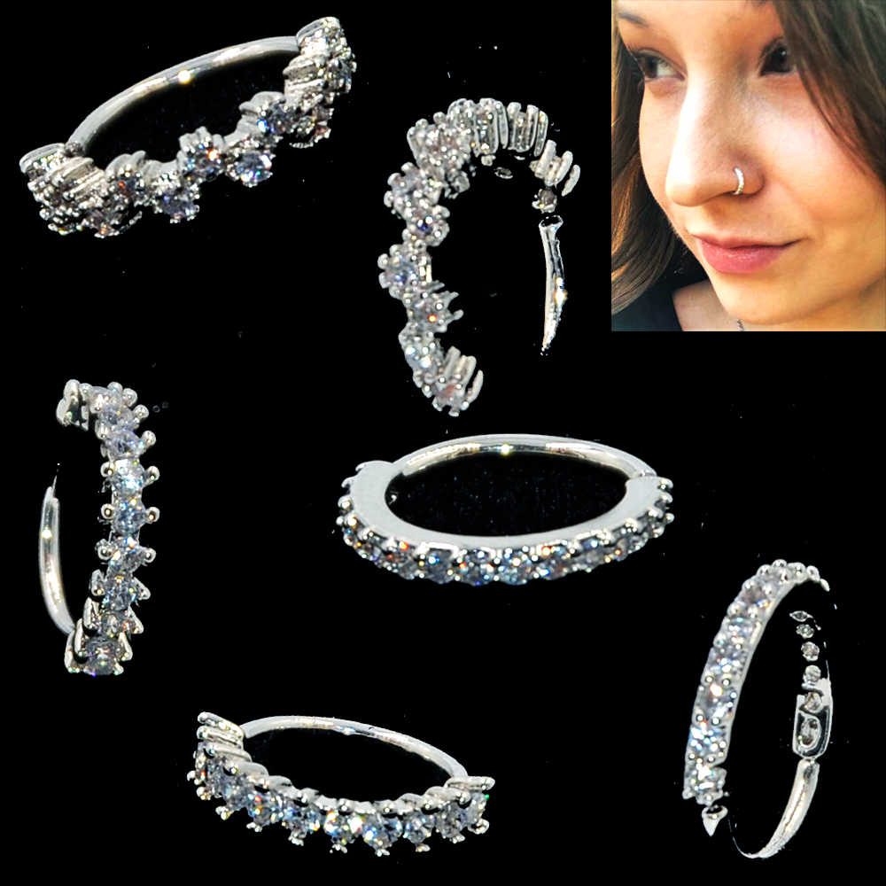 1PC Round Zircon Bendable Gem Ring Bendable Seamless Nose Ring Surgical Steel Crystal Ear Trague Cartilage Earring Piercing 1mm