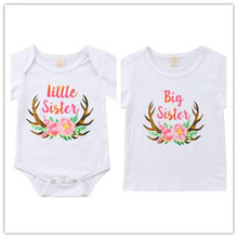 1e5330a3f7a0 CANIS Family Toddler Baby Girls Girl Print Little Big Sister Match Clothes  Jumpsuit Bodysuit Top Outfits T Shirts Bebe T-Shirt