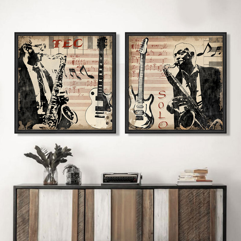 Musical Instrument Saxophone Men Portrait Pop Art Canvas