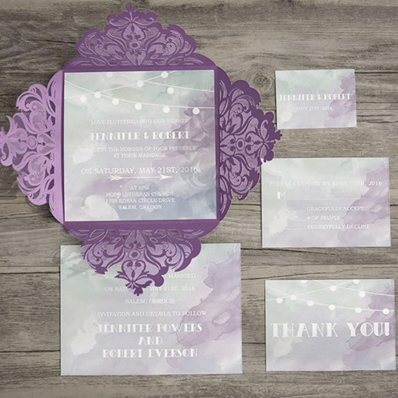 50 Set Design Lace Laser Cut Purple Wedding Invitations