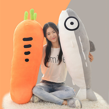 Fancytrader Big Fat Carrot Fish Salmon Plush Toy Giant Stuffed Cartoon Simulation Plant Animal Pillow Best Gifts 1pc