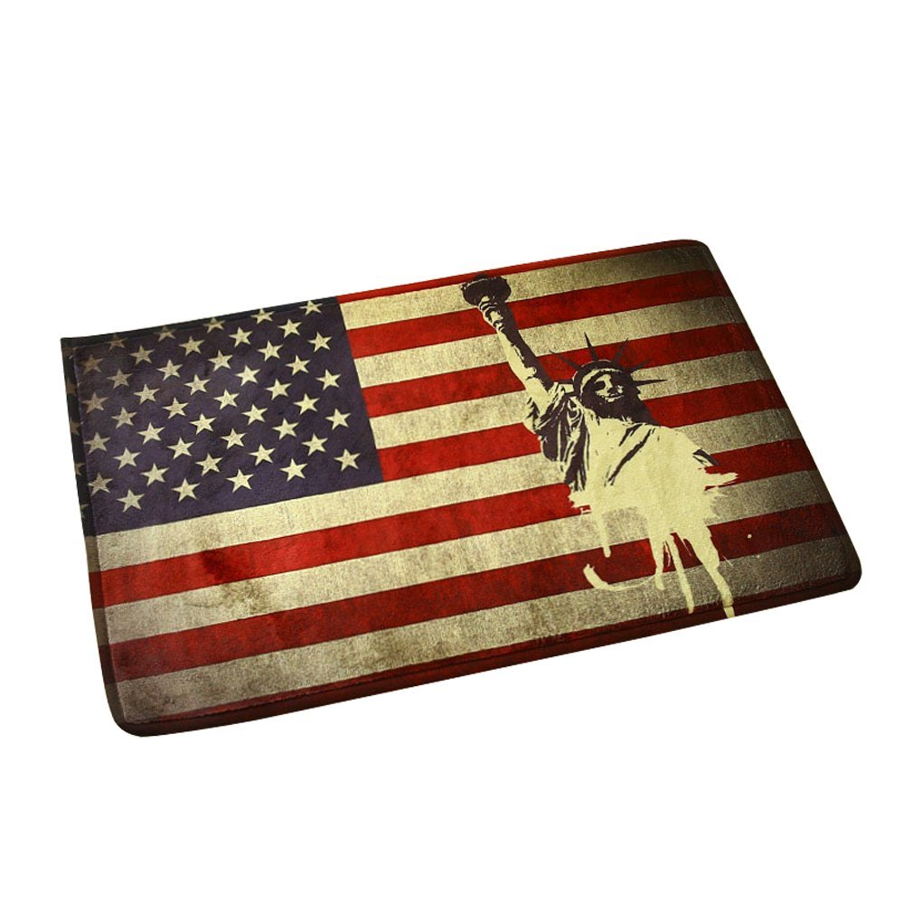 Soft Flannel Welcome Door Mat Non Slip Vintage American Flag Doormat  Water Absorbing Indoor Outdoor Front Door Rug Mat Home