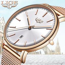 hot deal buy 2019 lige womens watches top brand luxury female watch fashion ladies stainless steel ultra-thin casual waterproof quartz clock