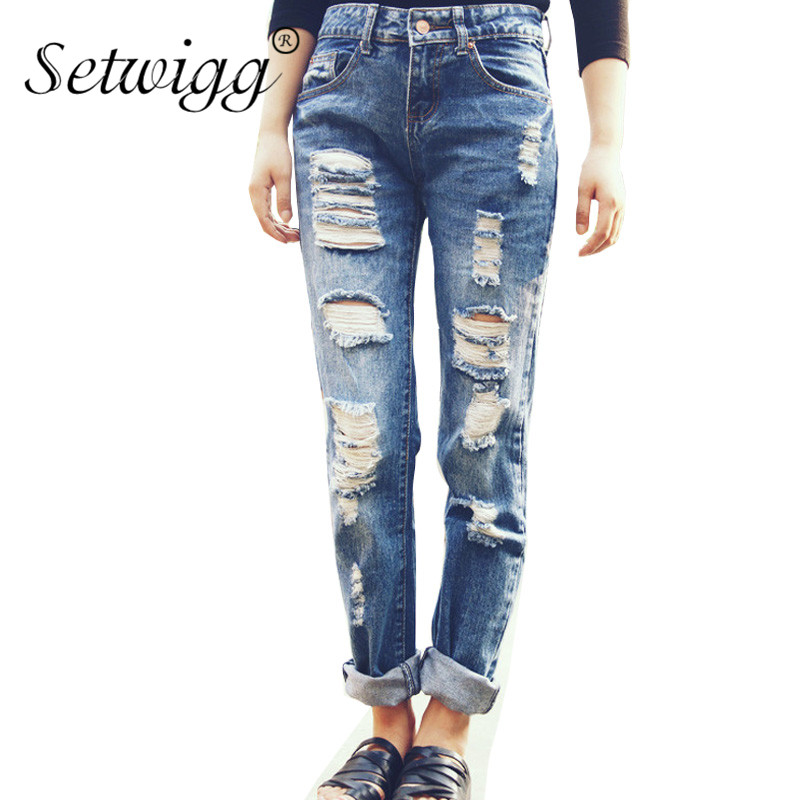 ФОТО SETWIGG Womens Ripped Cotton Denim Jeans Blue Washed Holes Boyfriend Style Female Casual Jeans Pants SG25