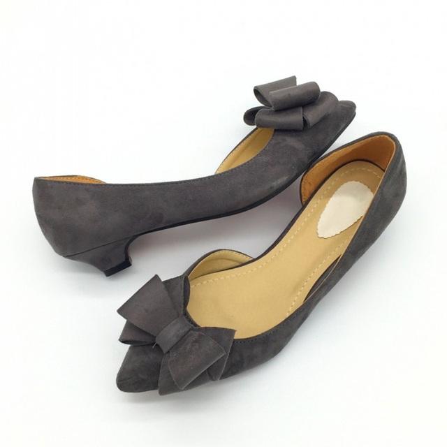 CEYANEAOSexy Pointed Toe Women's D'Orsay Low Heels Pumps Flock Bowtie Slip On Female Low Heels Shoes Ladies Single Shoes E809