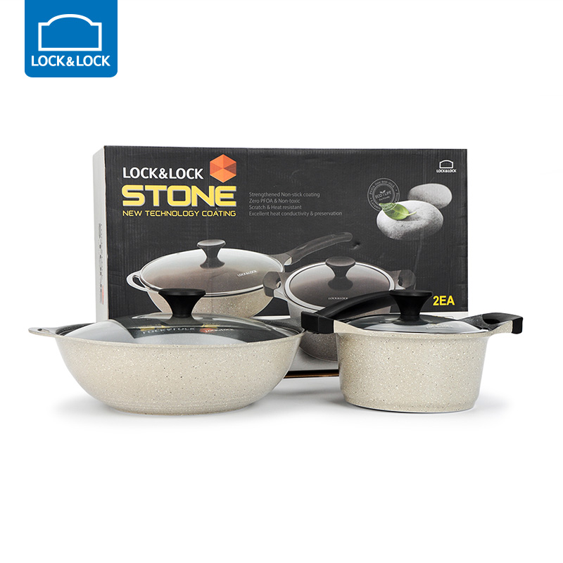 Locks& Lock Non-stick Cookware two-piece Chinese wok deep soup pot Ceramic marble coated Pot Kitchen Cooking Tools LCA6202DSH102Locks& Lock Non-stick Cookware two-piece Chinese wok deep soup pot Ceramic marble coated Pot Kitchen Cooking Tools LCA6202DSH102