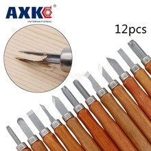 12pcs Wood Carving Chisels Knife For Basic Woodcut Working DIY Tools and Detailed Hand Tools Imitation Mahogany with Box(China)