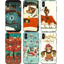 Cute Bear Monkey Phone Cases Cover for iphone X XR XS MAX 6 6s 7 8 Plus TPU Coque For 8Plus 5SE