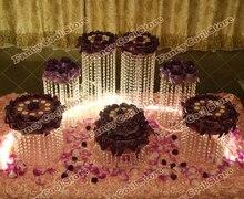 7ピース/セットchrismasのウェディングテーブルデザートプレートトップ-定格クリスタルケーキスタンド/ウェディングデコレーションパーティープロップ結婚式目玉