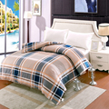Modern simple style single/double bed Luxury lattice Twin Full Queen King Size silk Duvet Cover/satin quilt cover bedding