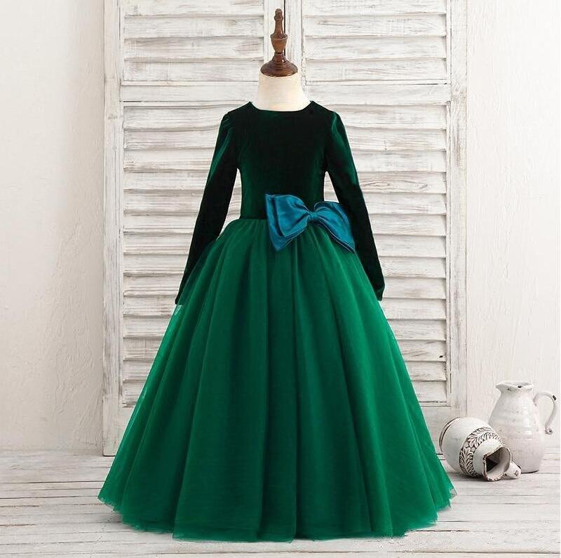Реальные фотографии, Платья с цветочным узором для девочек, бальное платье с круглым вырезом, бархатное фатиновое платье с большим бантом д