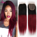 Burgundy 99j Ombre Brazilian Virgin Hair Straight 3 Bundles with Closure 7a Ombre Hair Virgin Hair Bundle Deals Ms Cat Hair