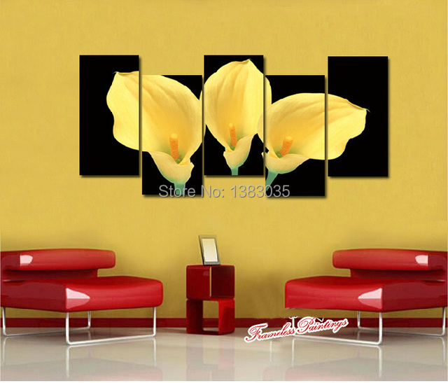 Hand Painted Bright Yellow Calla Lily Flower Oil Painting On Canvas ...