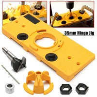 35MM Cup Style Concealed Hinge Jig Drill Guide Set Door Boring Hole Template Bit