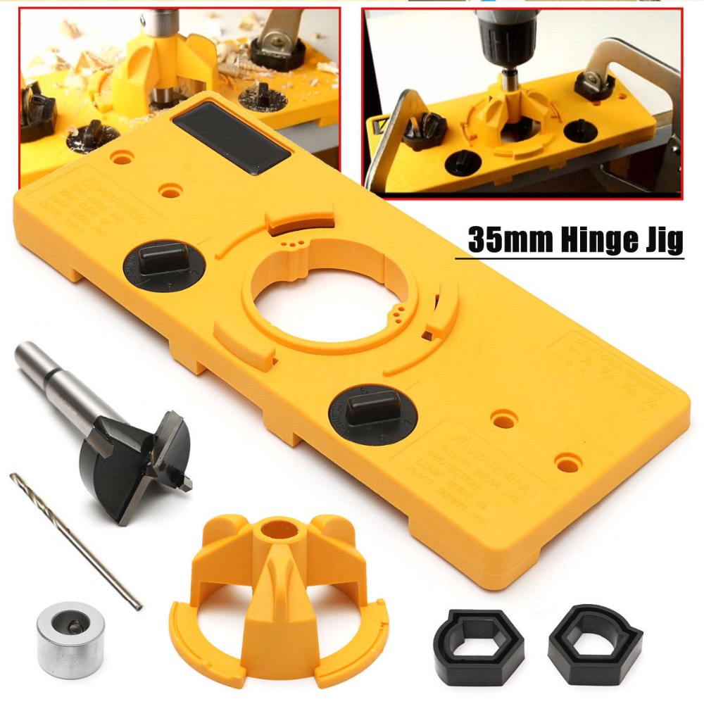 35MM Cup Style Concealed Hinge Jig Drill Guide Set Door Boring Hole Template&Bit 1 2inch aluminium jig template
