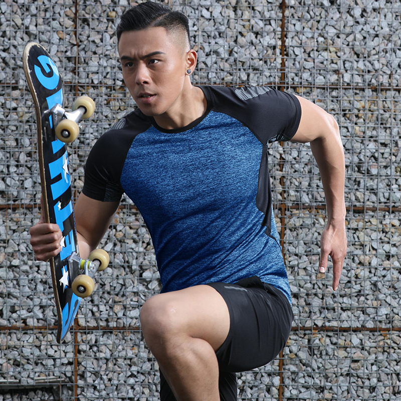 LANBAOSI Men Sport Shirts Short Sleeve Quick Dry Breathable Running Fitness Gym T-shirt Sports Training Compression Boys Tops Y5
