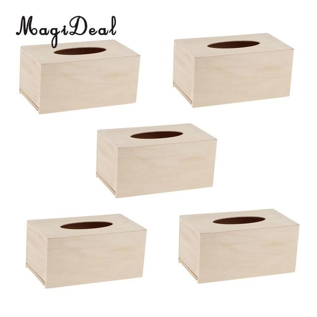 Magideal High Quality 5pcs Unfinished Wood Tissue Box Holder Natural Wooden Cover Craft For Home