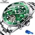 Новинка GUANQIN зеленые часы мужские роскошные брендовые автоматические часы турбийон водонепроницаемые неделя механические наручные часы м...