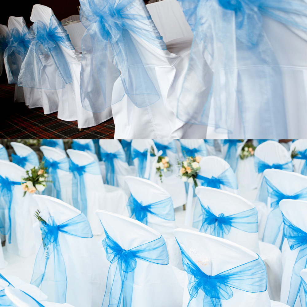 BIT.FLY 100Pcs/lot High Quality Sheer Qrganza Wedding Chair Sashes Bows knot Decoration For Wedding Banquet Party Event Supplies