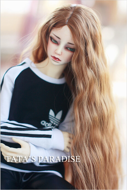 1/3 22-24cm BJD Wig high-temperature brown  long wave hair  for bjd dollfie