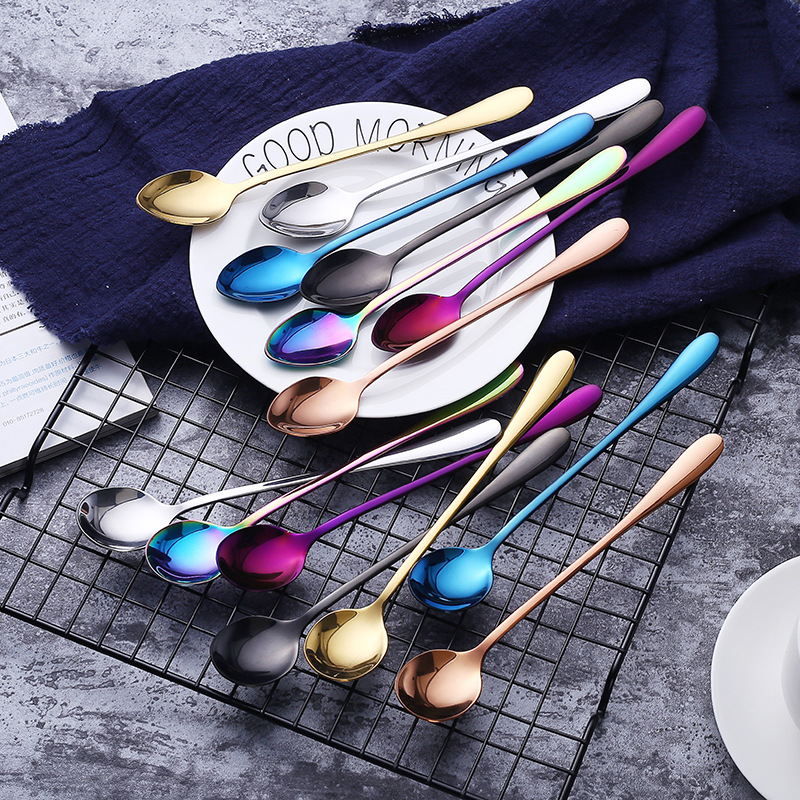 Stainless Steel Coffee Spoons Mixing Spoons Set Cold Drink Fruit Long Ice Spoon Rainbow Sharp Head And Round Head Cutlery 6pcs