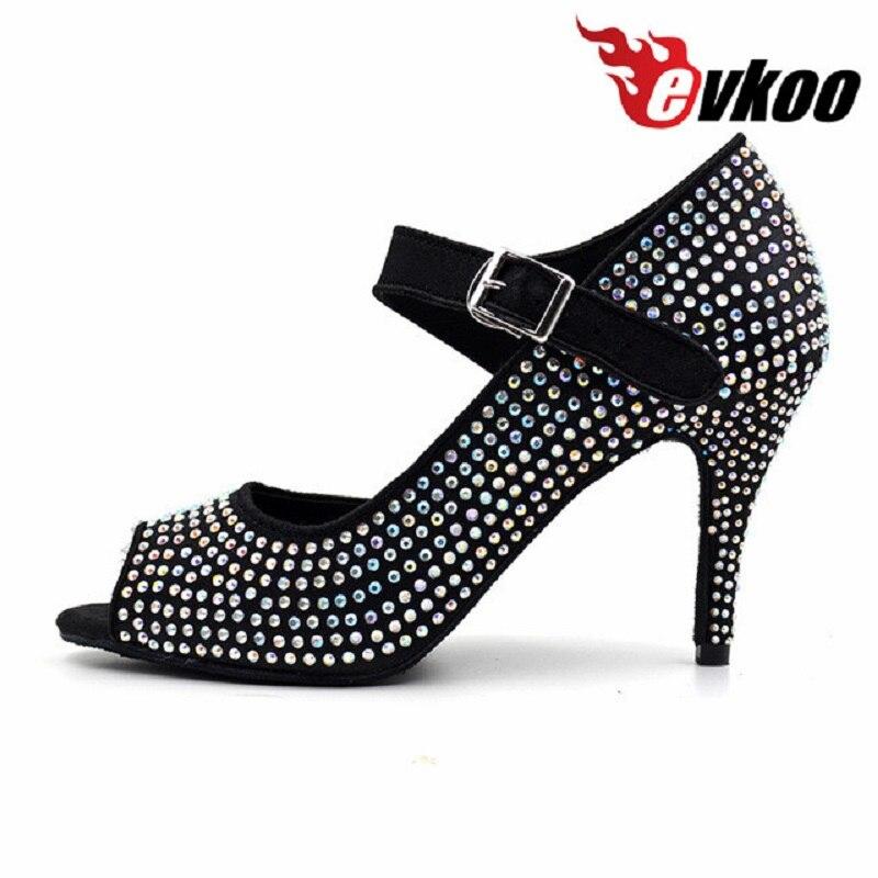 Evkoodance fille strass noir salsa chaussures 8.5 cm talon mince confortable salle de bal Latin danse chaussures femmes Evkoo-372