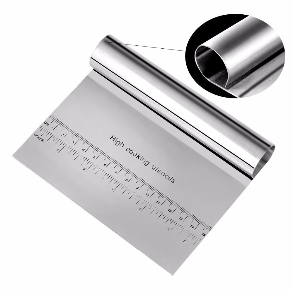 Stainless Steel Patisserie Pizza Dough Scraper Cutter Kitchen Tool