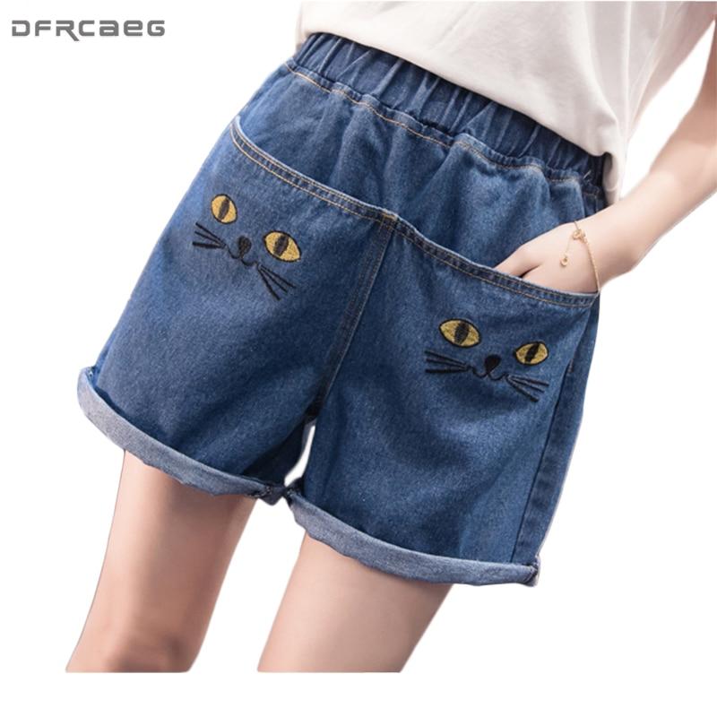 Fashion Plus Size Crimping Cuffs Pocket Shot Cartoon High Waisted Shorts For Women Summer Casual Denim Shorts Jeans Street Wear