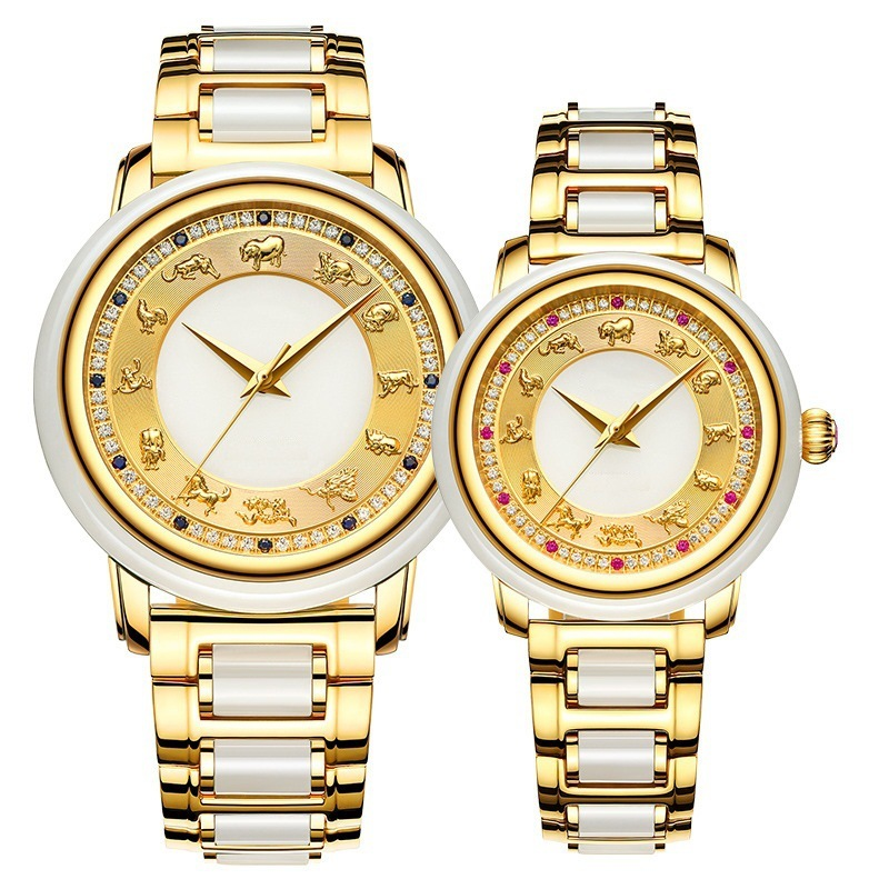 2019 Hot Style Watch Men's Automatic Mechanical Expression Couple Table Zodiac Jade Craft Watches Customization