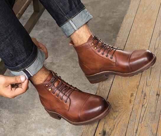 2018 bottillons en cuir pour hommes bottes en cuir pour hommes bottes en cuir décontracté lacets pour hommes