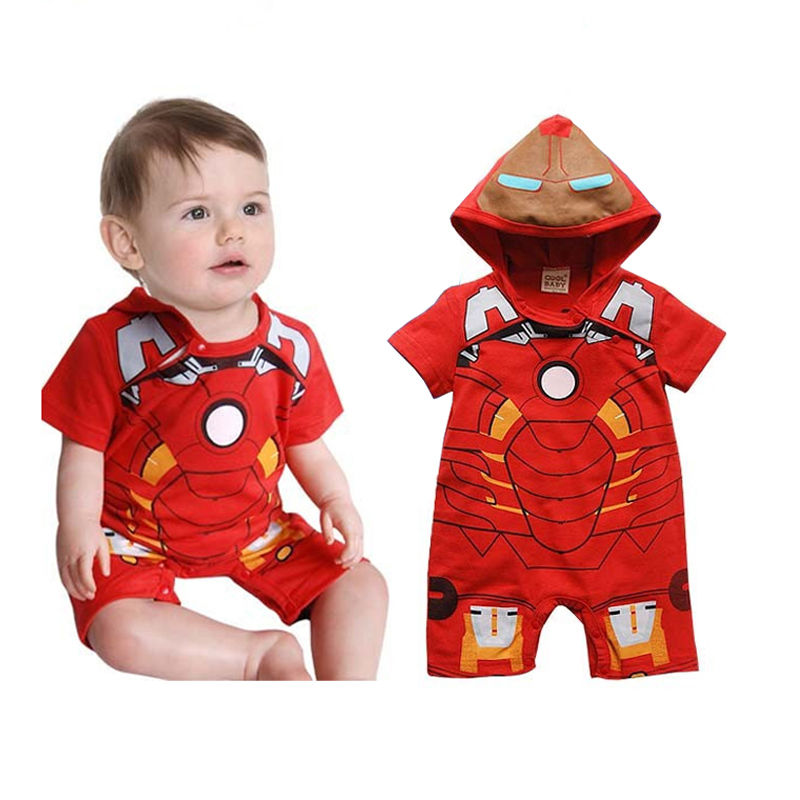 2016 New summer Hot sale Boy IronMan Jumpsuit   Rompers   Short Sleeve Hooded Costume Baby   Rompers   Outfit One-pieces Clothes 3-18M