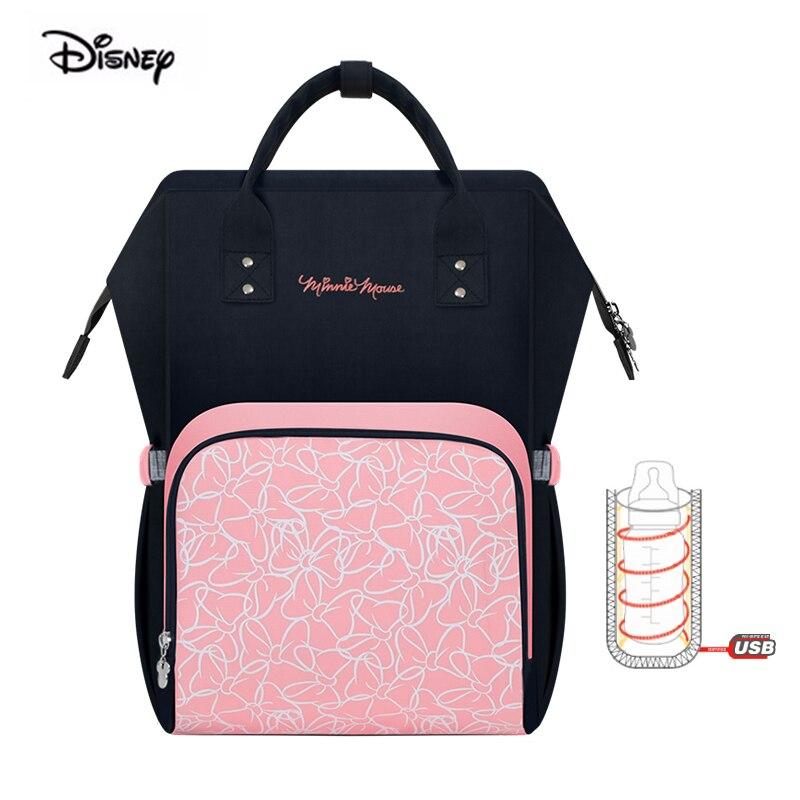 Disney mickey souris étanche grande capacité mère sac pour couches bébés lait isolation thermique de maternité couche sac à dos